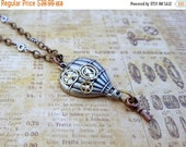 ON SALE Steampunk Hot Air Balloon Pendant Necklace,  Steampunk Airship Necklace, Gifts for Her, Mechanical Jewelry, Industrial Chic, Key Jew