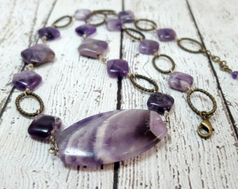 Unique Amethyst Gemstone Necklace, Twisted Brass Rings, Dogtooth Amethyst, Gifts for Her, Birthstone Jewelry, Brass Jewelry