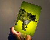 Bear Nightlight on Lime Green Fused Glass Night Light - Gift for Baby Shower or Nature Lover - Black Bear Grizzly Bear