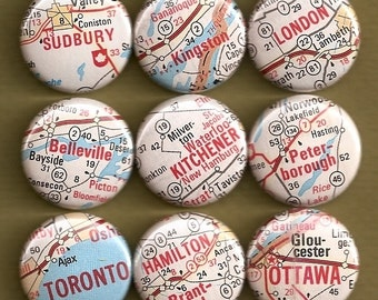 One Inch Magnet Set - Vintage Ontario Map - One of a kind set