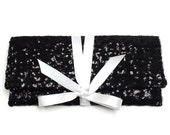 Black and white sequins clutch with a bow / Bridesmaid clutch Sparkle glitter envelope slim wedding bag // Custom colors available