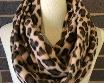 SALE Leopard print Super Soft & Warm fleece infinity circle wrap scarf tan black cheetah animal print