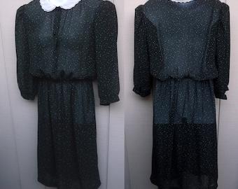 70s Black sheer Polka Dot SECRETARY DRESS ~ by Alison Peters // Sz Sml - Med