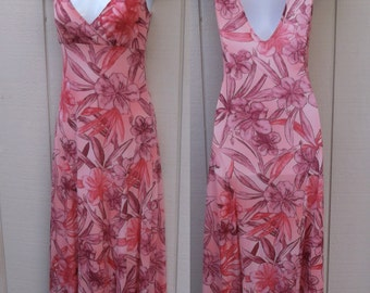 Vintage 90s does 70s Pink Floral Jersey Knit Maxi Dress w/ Empire Bodice / Boho Festival Long gown / sz sml