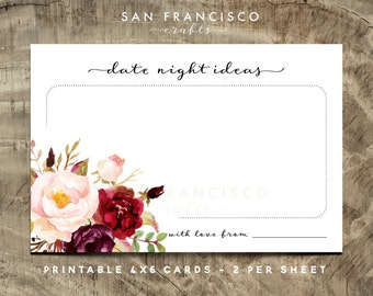 Date Night Ideas Card - Printable, Floral, Roses - HOLLY Collection - Instant Download PDF File