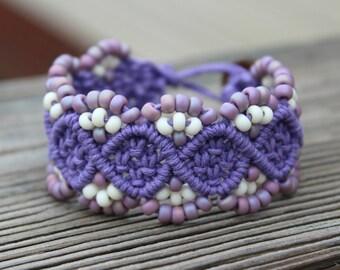 REDUCED Micro-Macrame Beaded Hemp Cuff Bracelet - Purple