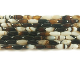 Half White/Half Black Striped Agate Barrel Gemstone Beads