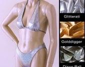 80s High Leg Bikini Bottom and Sliding Halter Bikini Top in Gold, Silver, Disco Ball Glitter Hologram