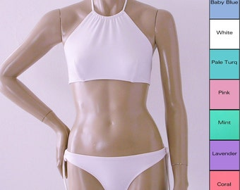 High Neck Halter Bikini Top and Keyhole Tie Bottom Bikini in White, Pink, Mint, Coral, Blue, Turquoise, Lavender in S.M.L.XL
