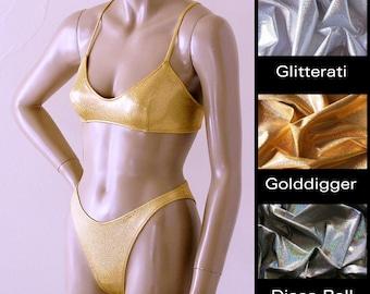 80s Brazilian Bikini Bottom and X-Back Ballet Bikini Top in Gold, Silver, and Disco Ball Glitter Hologram in S.M.L.XL