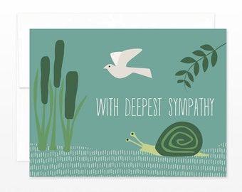 Sympathy, Condolence Card - Nature Snail and Dove