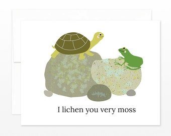 Funny Valentine's Day Card - Nature Card - Pun Card - Punny - Cute Anniversary Card - I Lichen You Very Moss - For Husband, For Wife