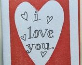 Letterpress I Love You card
