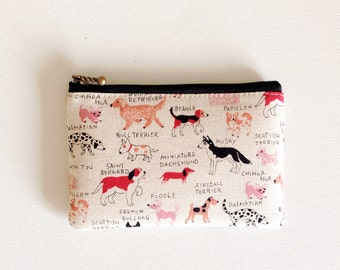 Mini zipper pouch  - natural dog in pink