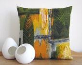 Retro Boho Cushion Cover - Barkcloth Big Leaf Vintage Fabric Botanic Design -
