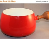 HALF OFF Red Danish style enamel cooking pot, heavy enamel fondue style pot. red enamel cookware, enamelware, red enamelware