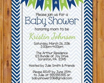 It's a Boy Baby Shower Invite Navy Blue Lime Green and  Navy Chevron Pennant Bunting Invite It's a Boy  5x7 Digital JPG File  (539)