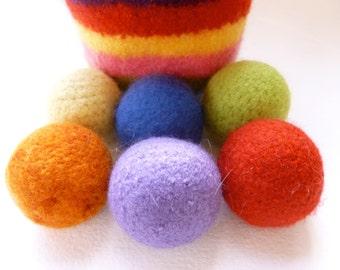 Rainbow Juggle Balls set of six in wool basket felted wool balls ready to ship