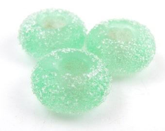 Sugared Pale Emerald Green Handmade Artisan Lampwork SRA Big Hole Charm Bracelet Beads (Set of 3) SRA