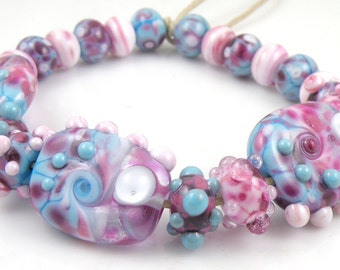Blue Raspberry Mixed Set - Handmade Artisan Lampwork Glass Beads - Purple, Pink, Turquoise Blue - SRA (Set of 21 Beads)
