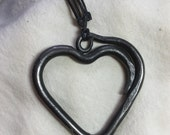 Hand Forged Heart Necklace Valentine Viking Love