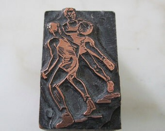 Basketball Players Vintage Letterpress Printers Block