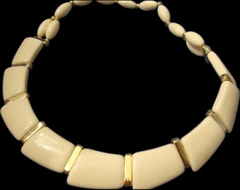 VINTAGE Egyptian Revival bib Necklace choker cream Lucite sections with Gold tone spacers