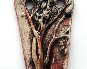 Rustic Handmade Garden Image Pendant  Ceramic by Mary Harding