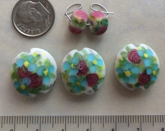 Beautiful Etched Floral Coin Lampwork Glass Bead Set for Jewelry Making