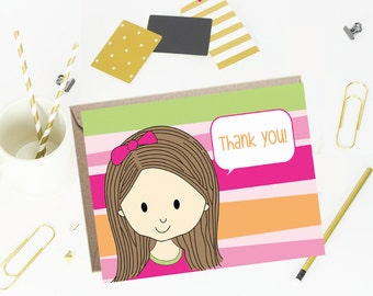 Note cards- Foldover Note Cards for Kids - Children Stationery- Bright Stripes- Set of 10