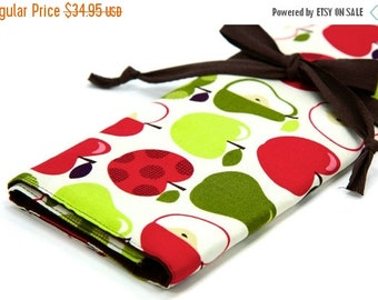 Sale 25% OFF Large Knitting Needle Case - Apples 2 Apples - brown pockets for circular, straight, dpn, or paint brushes