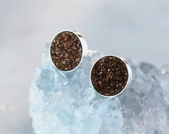 Chocolate Druzy Earrings, Druzy Studs, Natural Drusy Gemstone, Sterling Silver Studs, 8mm Size Gems, Druzy Post Earrings, Handmade Jewelry