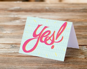 Yes Greeting Card positive message fun hand written font type