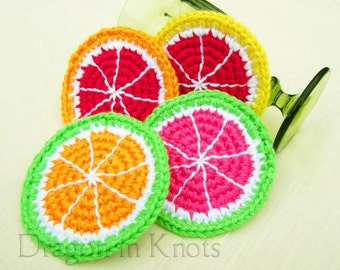 Citrus Fruit Coasters - Set of 4 Pomelo, Blood Orange, Green Tangerine, Ruby Red Grapefruit crocheted coasters, our first apartment decor