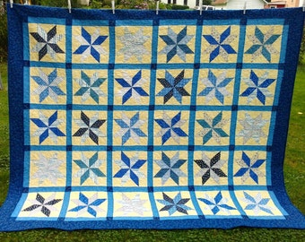 Sunshine and Blue Skies Homemade Quilt - QUEEN SIZE - 96 x 82