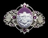Cameo Barrette Purple and White Dragonfly  with Beach Glass and Crystal Accents