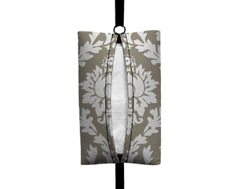 Auto Sneeze - Damask - Visor Tissue Case/Cozy - Car Accessory Automobile - Light Taupe White Floral