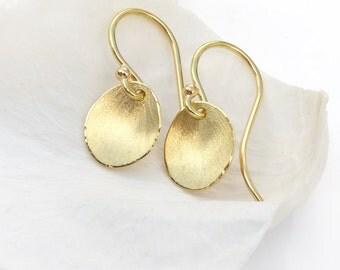 Flower Petal Earrings in 18ct Yellow Gold, Eco Friendly