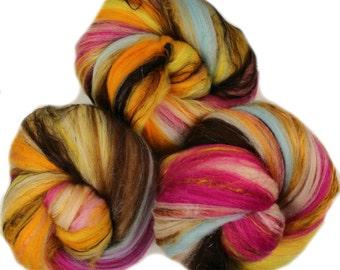 Daisy Chain - classic batts -- (4.2 oz. per set) hand-dyed organic polwarth wool, bamboo, soysilk, sparkle.