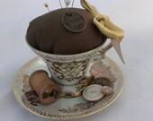 Vintage Tea Cup Pin Cushion - Altered Royal Crown Set