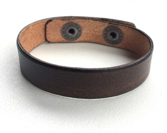 "Brown Leather Cuff Wristband Bracelet, Narrow, 5/8"" Wide, by Shaterra"