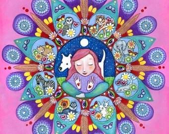 Shaman A3 mandala print pink mandala art whimsical folk painting animal whisperer healer medium magic art for woman gift for girl friend