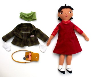 Girl doll wool with School outfit