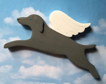 Weimaraner Angel Dog Rustic Wood Decoration - Dark Pewter Grey