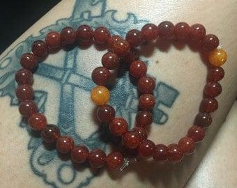 Sacral Chakra Stretch Bracelet with Carnelian and Orange Agate