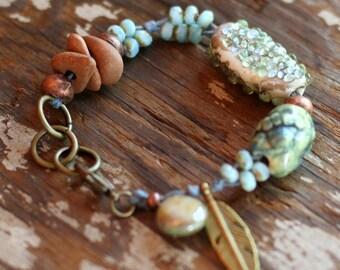 lampwork bead bracelet, ocean jewelry, waxed linen, sea bracelet, beach boho, bohemian jewelry