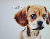 "Custom Pet Portrait Art Gift, Photo Gift, 8""x10"""