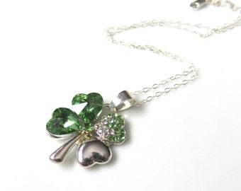 Green Shamrock Necklace,  Lucky Four Leaf Clover on Chain, Green and Silver Irish Jewelry, Glass Shamrock on Silver Chain, St Patricks Day