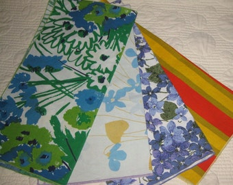 Vintage Napkins, Vera Signed, Mod Fabrics, 1970s, Four Designs, Set of Four