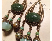 Green Deco Teardrop Earrings